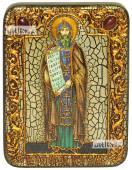 Кирилл Равноапостольный икона подарочная на дубовой доске 15х20 см