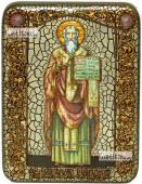 Мефодий Равноапостольный, икона подарочная на дубовой доске, 15х20 см