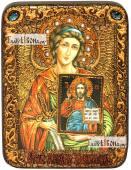 Ангел Хранитель с образом Господа икона подарочная на дубовой доске 15х20 см