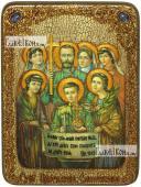 Царственные страстотерпцы поясные аналойная икона подарочная