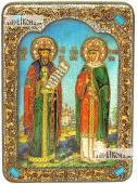 Петр и Феврония на голубом фоне аналойная икона подарочная