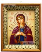 Семистрельная Божия Матерь икона на холсте в киоте-рамке