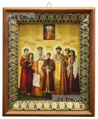 Царская семья икона на холсте в киоте-рамке