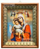 Достойно Есть Божия Матерь икона на холсте в киоте-рамке