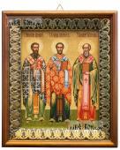 Три святителя, икона на холсте в киоте-рамке