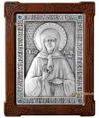 Блаженная Матрона Московская серебряная икона со стразами артикул 11146