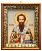 Василий Великий икона на холсте в киоте-рамке