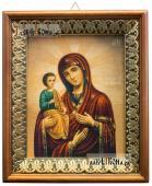 Троеручица Божия Матерь икона на холсте в киоте-рамке