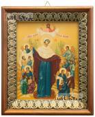Всех Скорбящих радость (с грошиками), икона на холсте в киоте-рамке