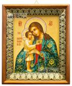 Взыскание погибших Божия Матерь с узорами икона на холсте в киоте-рамке