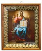 Господь на троне икона на холсте в киоте-рамке