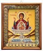 Живоносный источник Божия Матерь, икона на холсте в киоте-рамке