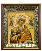 Страстная Божия Матерь икона на холсте в киоте-рамке