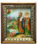 Петр и Феврония, икона на холсте в киоте-рамке
