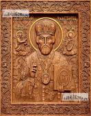 Резная икона Николая Чудотворца артикул 22306