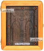 Резная икона Петра и Февронии артикул 22048