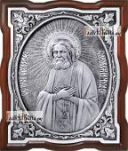 Серафим Саровский, серебряная икона фигурная, артикул 11188
