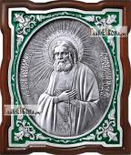 Серафим Саровский, серебряная икона фигурная с эмалью, артикул 13188