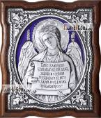 Серебряная икона с эмалью Ангела Хранителя с молитвой артикул 13194
