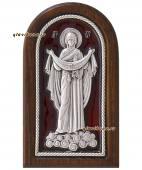 Покров Пресвятой Богродицы икона серебряная с эмалью артикул 13215