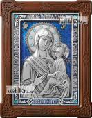 Тихвинская Богородица икона из серебра с цветной эмалью артикул 13191
