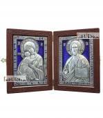 Складень с серебряными иконами со стразами и эмалью артикул 13189