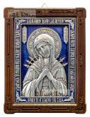Семистрельная, серебряная икона со стразами и эмалью, артикул 13187