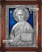 Серебряная икона Господа Вседержителя оформленная эмалью артикул 13185