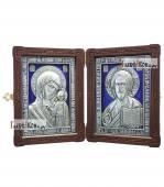 Складень с серебряными иконами и эмалью: Спаситель и Казанская Божия Матерь