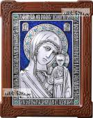 Казанская Божия Матерь серебряная икона с ювелирной эмалью артикул 13180