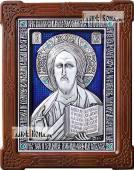 Серебряная икона Спасителя со стразами и эмалью артикул 13179