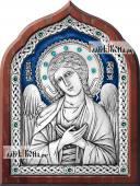 Ангел Хранитель серебряная икона со стразами и эмадью артикул 13182