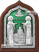 Серебряная икона Кирилла и Марии с ювелирной эмалью артикул 13181