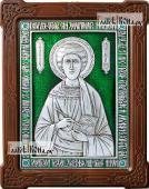 Целитель Пантелеимон серебряная икона с эмалью артикул 13176