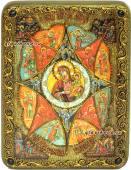 Неопалимая купина, Божия Матерь, икона подарочная, на дубе, с камнями, средняя