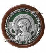Икона-медальон в машину с образом Ангела Хранителя артикул 13230 - цвет зеленый