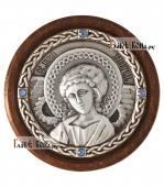 Серебряная икона-медальон с образом святого Ангела Хранителя, артикул 11230