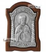 Маленькая серебряная икона святителя Николая Чудотворца, артикул 11232