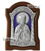 Небольгая серебряная икона Николая Чудотворца, артикул 13232