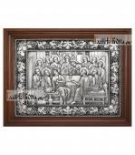 Тайная Вечеря серебряная икона в деревянном киоте артикул 11238