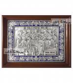 Тайная Вечеря серебряная икона с эмалью артикул 13238