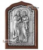Благоверные Петр и Феврония серебряная икона малая артикул 11239