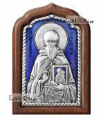Савва Сторожевский серебряная икона c эмалью малая артикул 13225