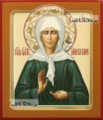 Писанная икона Матроны Московской с золочением и узорами артикул 6261