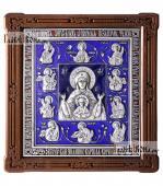 Курская Коренная Знамение - икона серебряная с эмалью артикул 13221