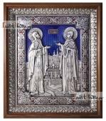 Петр и Феврония, большая серебряная икона с ювелирной эмалью, артикул 13222