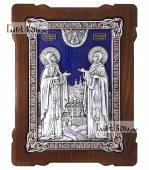Большая серебряная икона Петра и Февронии фигруной фолрмы с эмалью артикул 13220