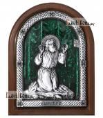 Моление Серафима Саровского на камне серебряная икона с эмалью артикул 13216
