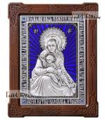 """Серебряная икона """"Милостивая"""" Божия Матерь Киккская с эмалью артикул 13212"""