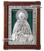 Савва Сторожевский преподобный икона из серебра с эмалью артикул 13211